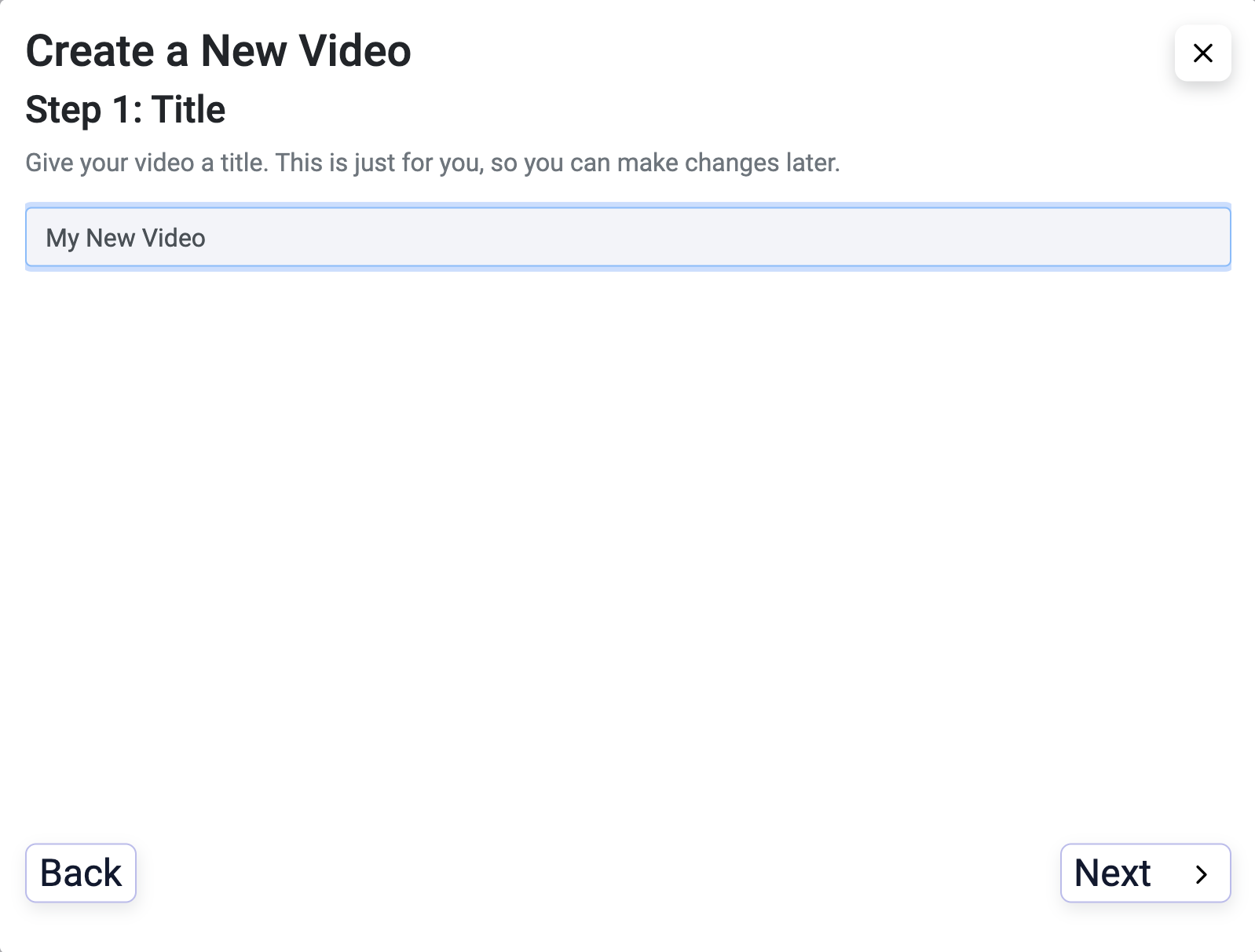 Create your first video - step 2