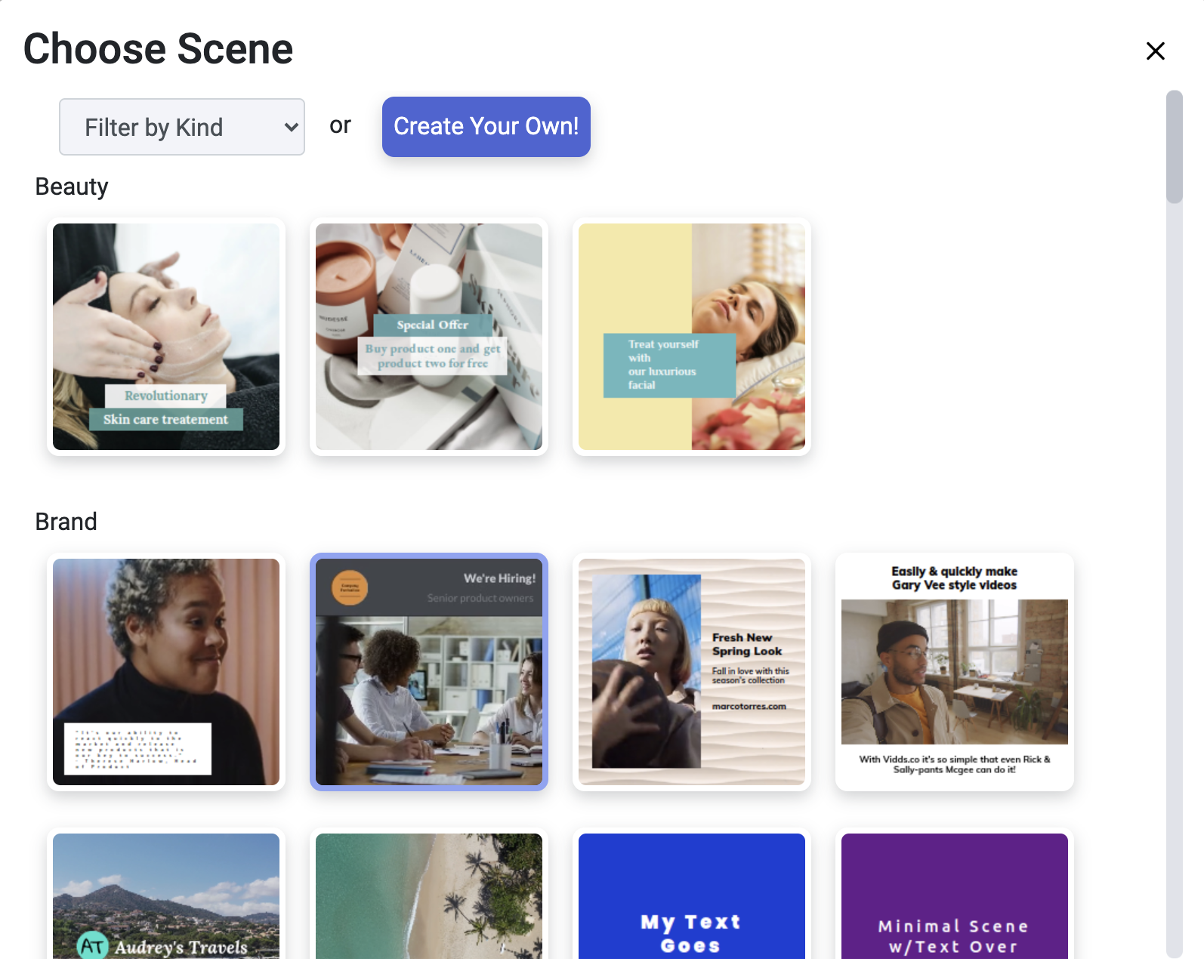 Create your first video - Scene Select