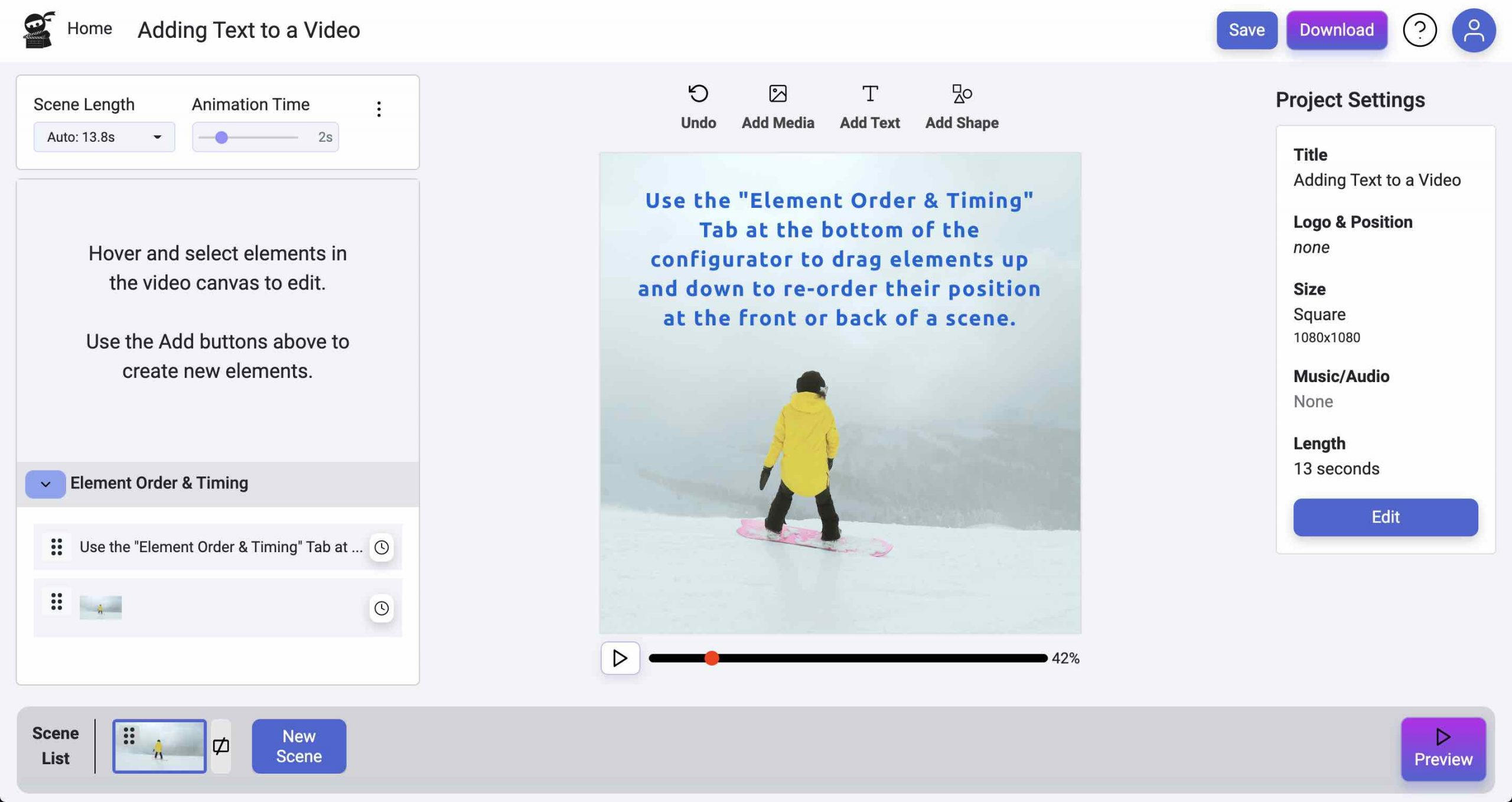 Element Layering - Add Text to Videos