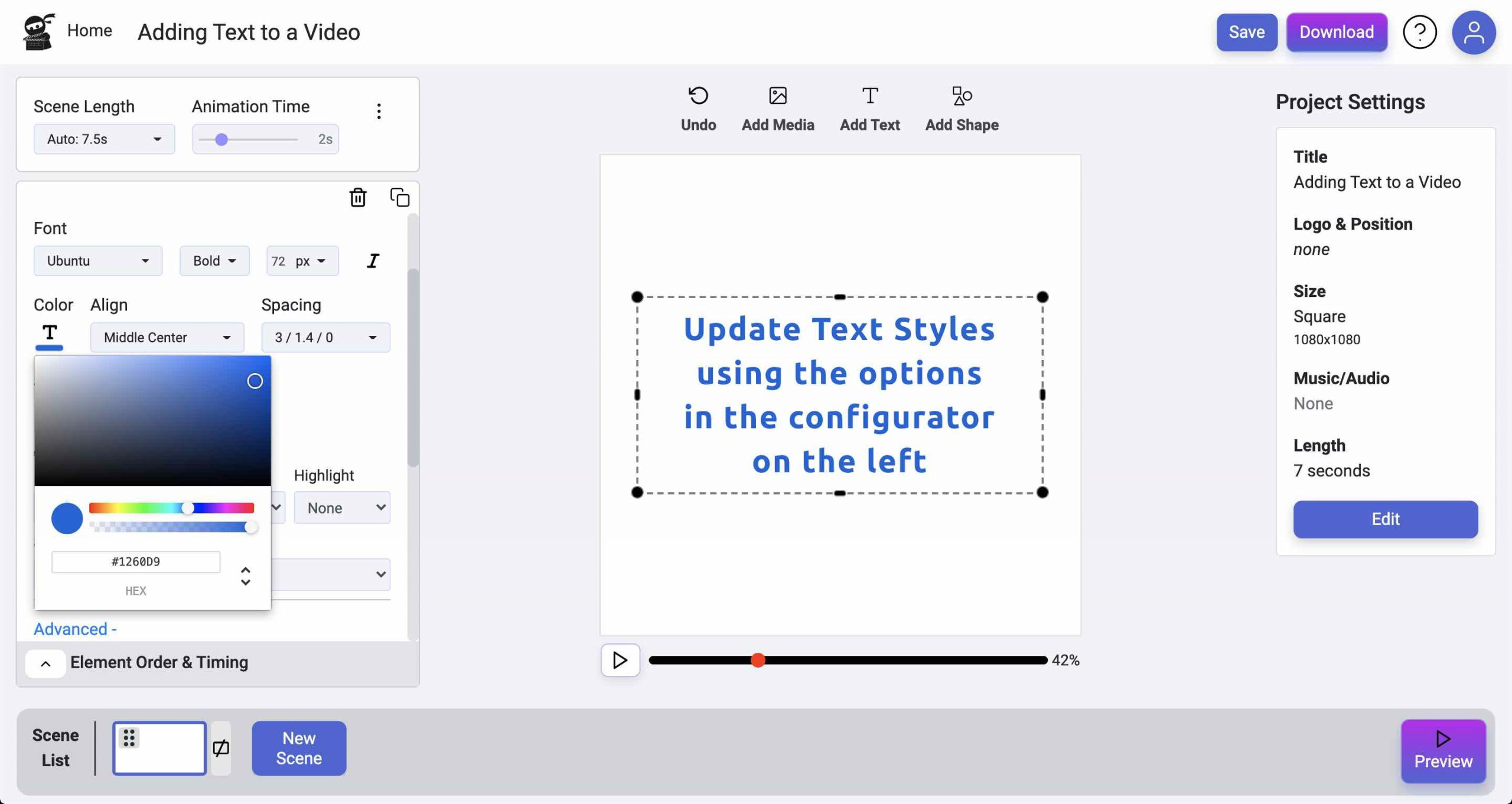 Update Text Styles - Add Text to Videos