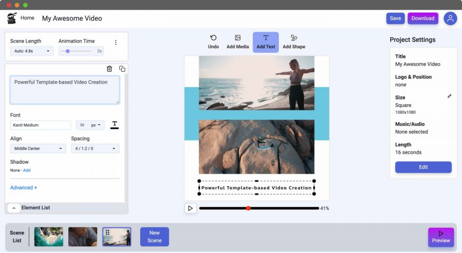 Easy Online Video Editing Add Text to Video Screenshot