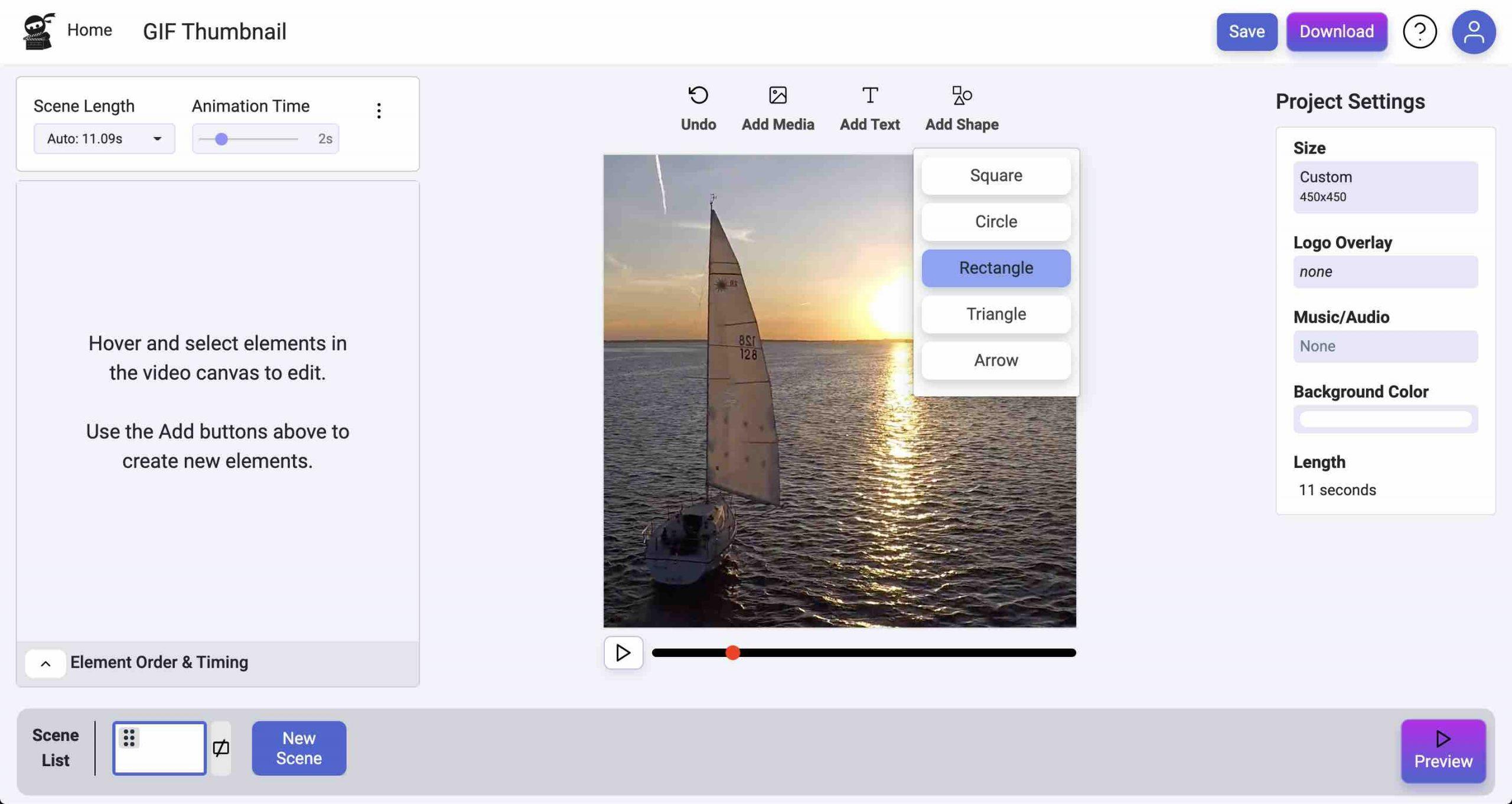 Add Rectangle Shape Screenshot