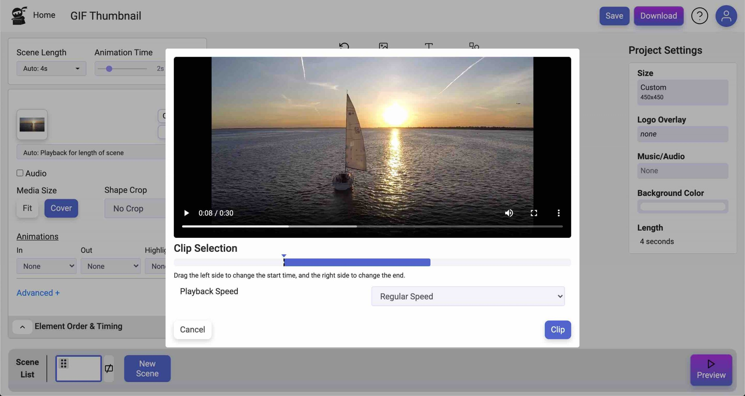 How to create an animated GIF thumbnail - trim video clip