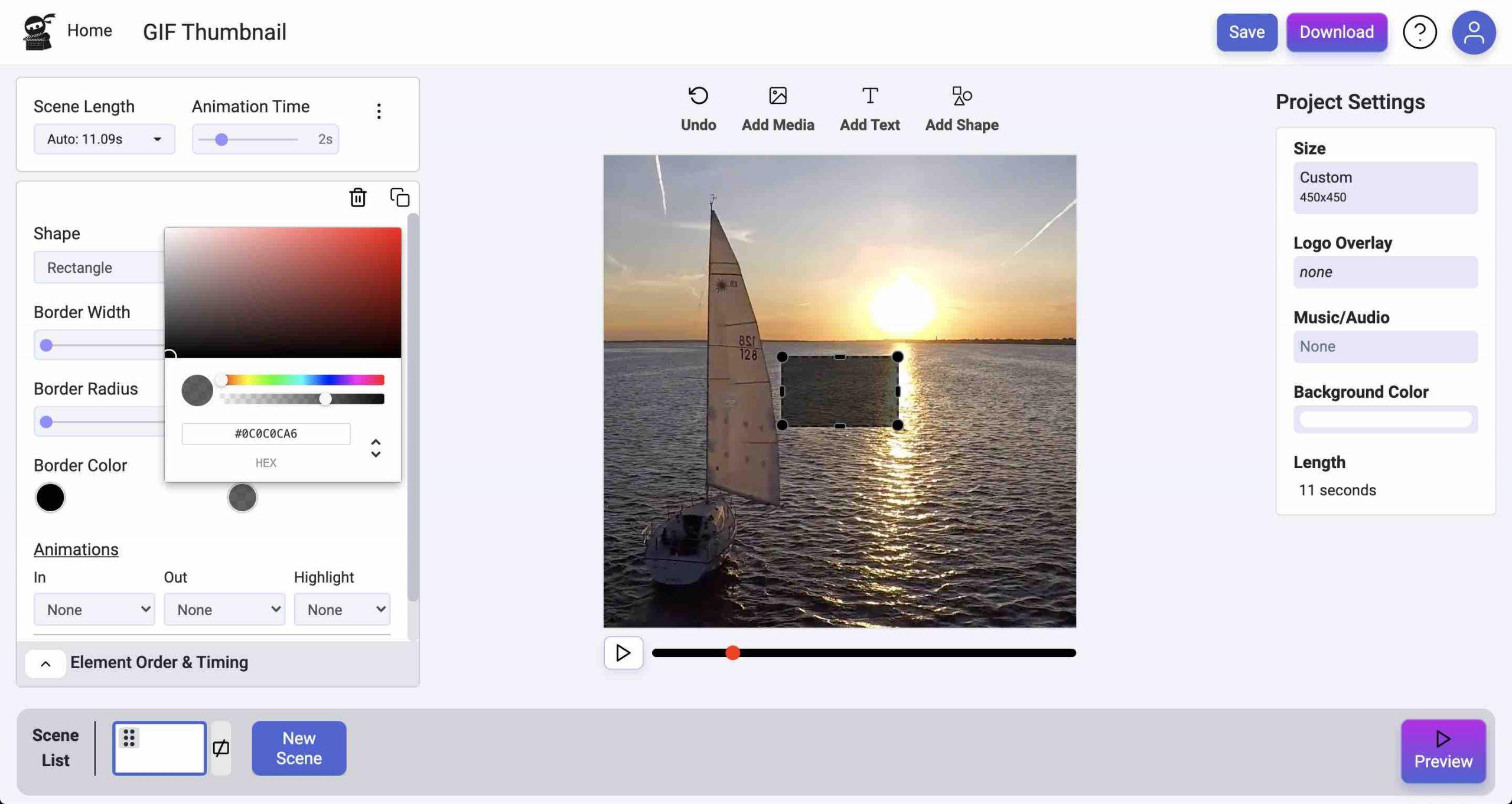 customise rectangle screenshot