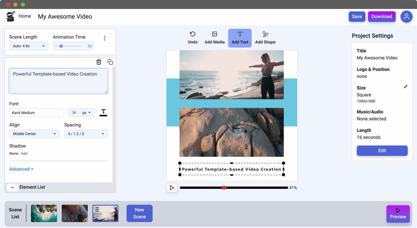 Vidds Easy Online Video Editing UI Overview
